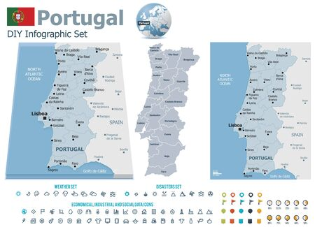 Portugal maps with markers Stock Vector - 21427772