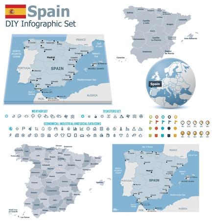 spain map: Mappe Spagna con marcatori Vettoriali