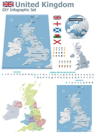 political map: United Kingdom maps with markers