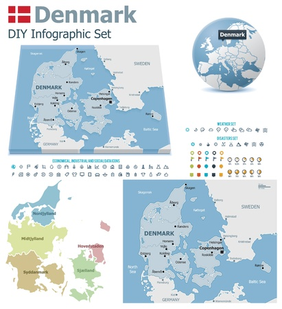 Denmark maps with markers Stock Vector - 21427780
