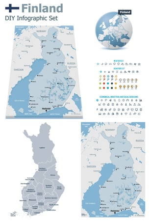 suomi: Finland maps with markers