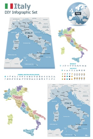 weather report: Italy maps with markers Illustration