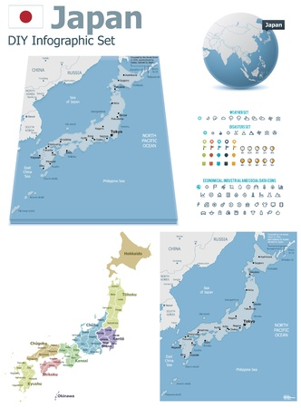 prefecture: Japan maps with markers Illustration