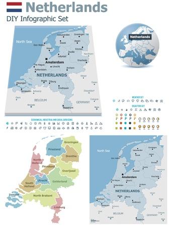 the netherlands: Nederland kaart met markers Stock Illustratie
