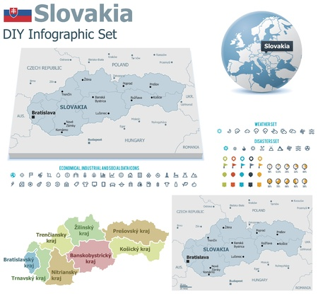 slovakia: Mappe Slovacchia con marcatori Vettoriali