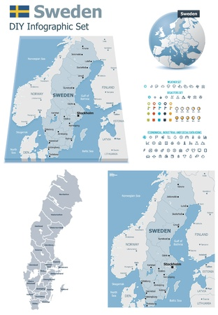 political division: Sweden maps with markers Illustration