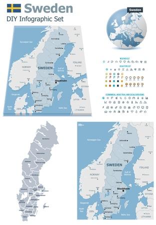 map of sweden: Sweden maps with markers Illustration