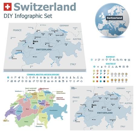 francia: Mapas de Suiza con los marcadores