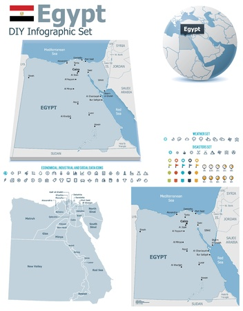 flag of egypt: Mapas de Egipto con marcadores