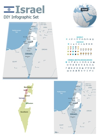 political division: Israel maps with markers
