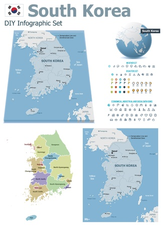 korea map: South Korea maps with markers Illustration