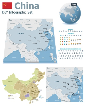 weather icons: China maps with markers
