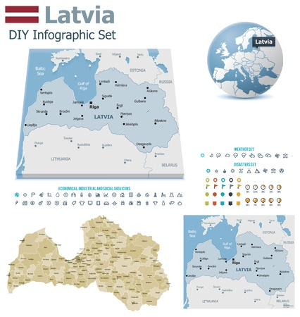 Latvia maps with markers Stock Vector - 21822225