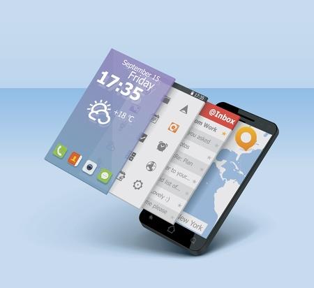 estado del tiempo: Icono del vector smartphone