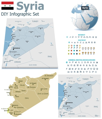 Syria maps with markers Vector
