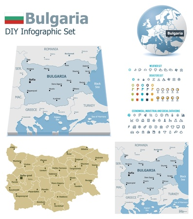 political division: Bulgaria maps with markers Illustration