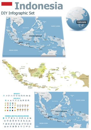 Indonesia maps with markers Illustration