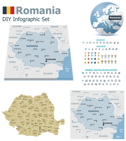 maps globes and flags: Romania maps with markers Illustration
