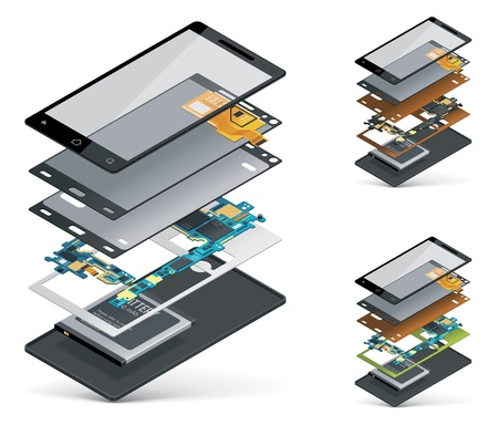features: isometric smartphone cutaway  Illustration