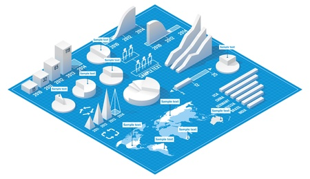 isometric info graphic elements Vector