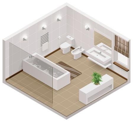 ベクトル浴室等尺性のアイコン  イラスト・ベクター素材