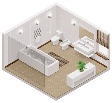 interior design living room: Vector isometric bathroom icon