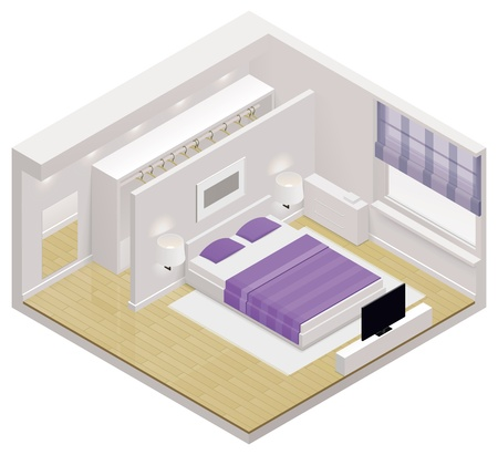 ladenkast: isometrische pictogram slaapkamer Stock Illustratie