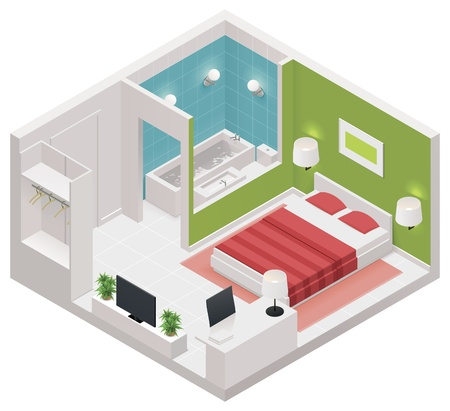 hotel building: isometric hotel room icon