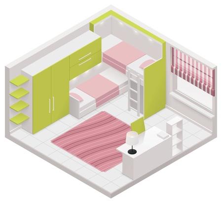 ladenkast: isometrische kinderen room icoon Stock Illustratie