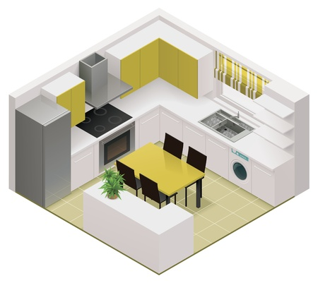 cutaway: isometric kitchen icon Illustration