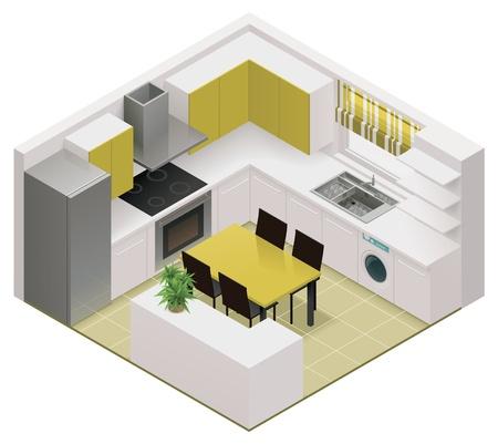 modern interieur: isometrische keuken icoon
