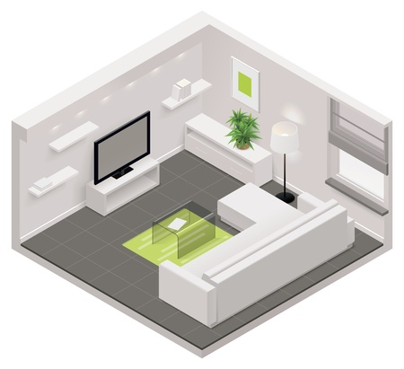 residential homes: isometric living room icon