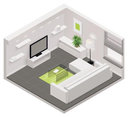 cutaway drawing: isometrico icona soggiorno Vettoriali