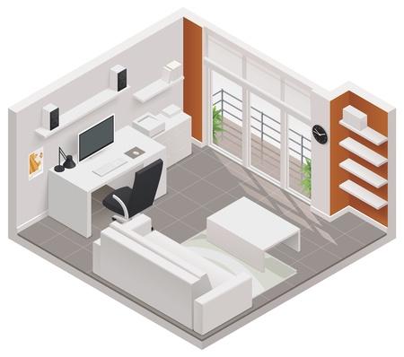 plan maison: Ic�ne isom�trique de la chambre de travail Illustration