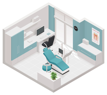 furnishing: isometrische pictogram tandheelkundige kliniek
