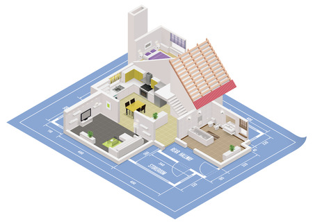 isometric house cutaway icon Illustration