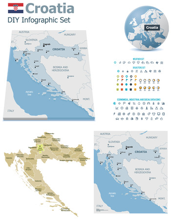 Croatia maps with markers Vector