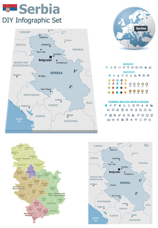 political division: Serbia maps with markers