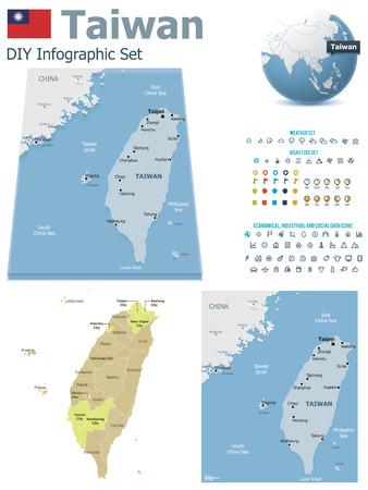 carte: Cartes de Taiwan avec des marqueurs