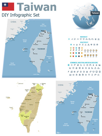 mapa: Mapas de Taiwan con marcadores Vectores