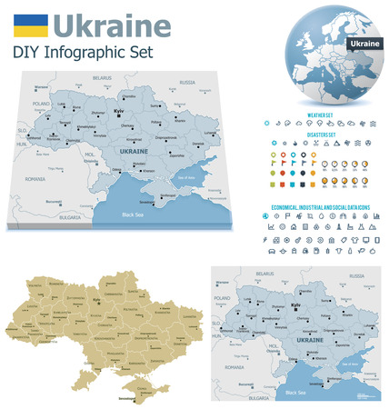 political division: Ukraine maps with markers