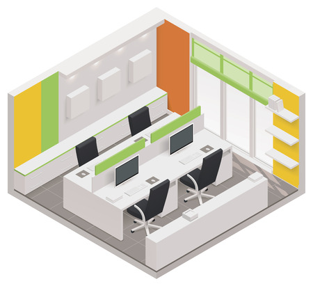 cutaway: isometric office room icon