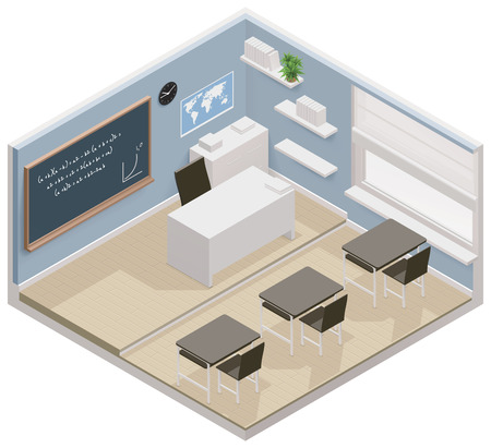 isometric classroom icon Illustration
