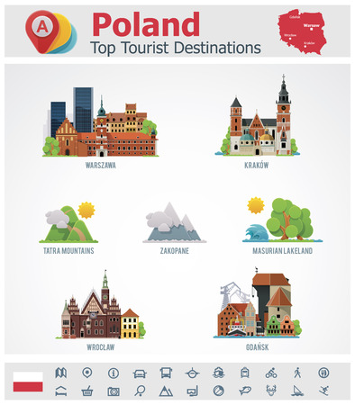 Poland travel destinations icon set