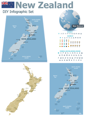 New Zealand maps with markers Illustration