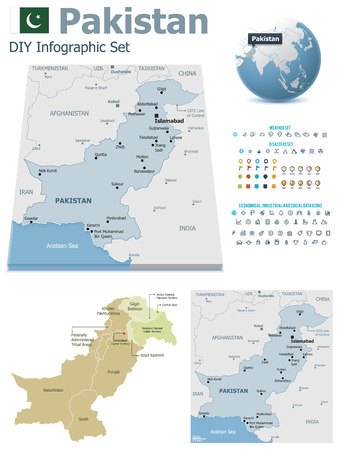 Pakistan maps with markers Vector