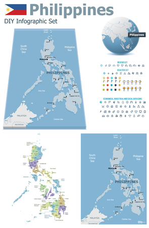 political division: Philippines maps with markers Illustration