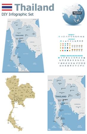 mapa: Mapas de Tailandia con marcadores Vectores