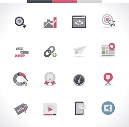 web  web page: SEO icon set  Part 1 Illustration