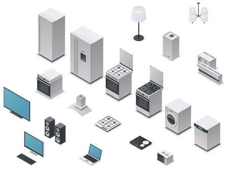 Vector isometric appliances set Vector